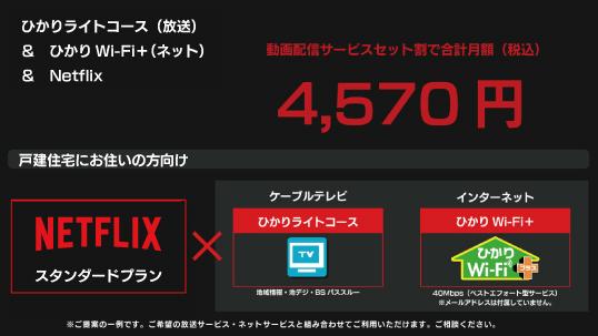 4,570円|Netflix+ひかりライトコース(放送)+ひかりWi-Fi+(ネット)